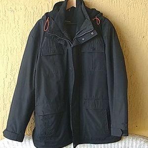 London Fog blk mens hooded jacket Sz XL